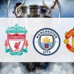 Tottenham logo, Liverpool logo, Manchester City logo, Manchester United logo and the Champions League.