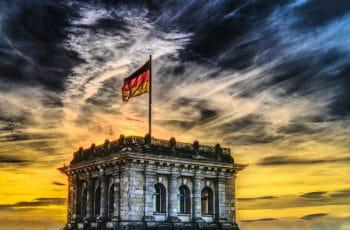 German flag on a building