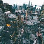 An overhead shot of a city.