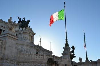 Italian flag outside a building.