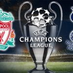 UCL trophy and Liverpool and Tottenham badges