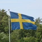 Swedish flag in front of a forest