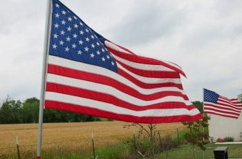 American flag in a field